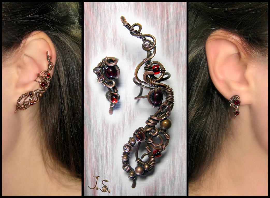 Ear cuff and stud Firebird by JSjewelry
