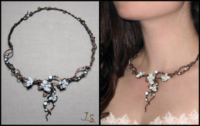 Necklace Snowy garden by JuliaKotreJewelry