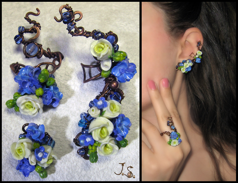 Morning freshness II set - ear cuff, stud, ring by JSjewelry