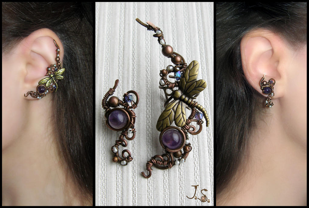 Garden of dragonflies ear cuff and stud by JSjewelry