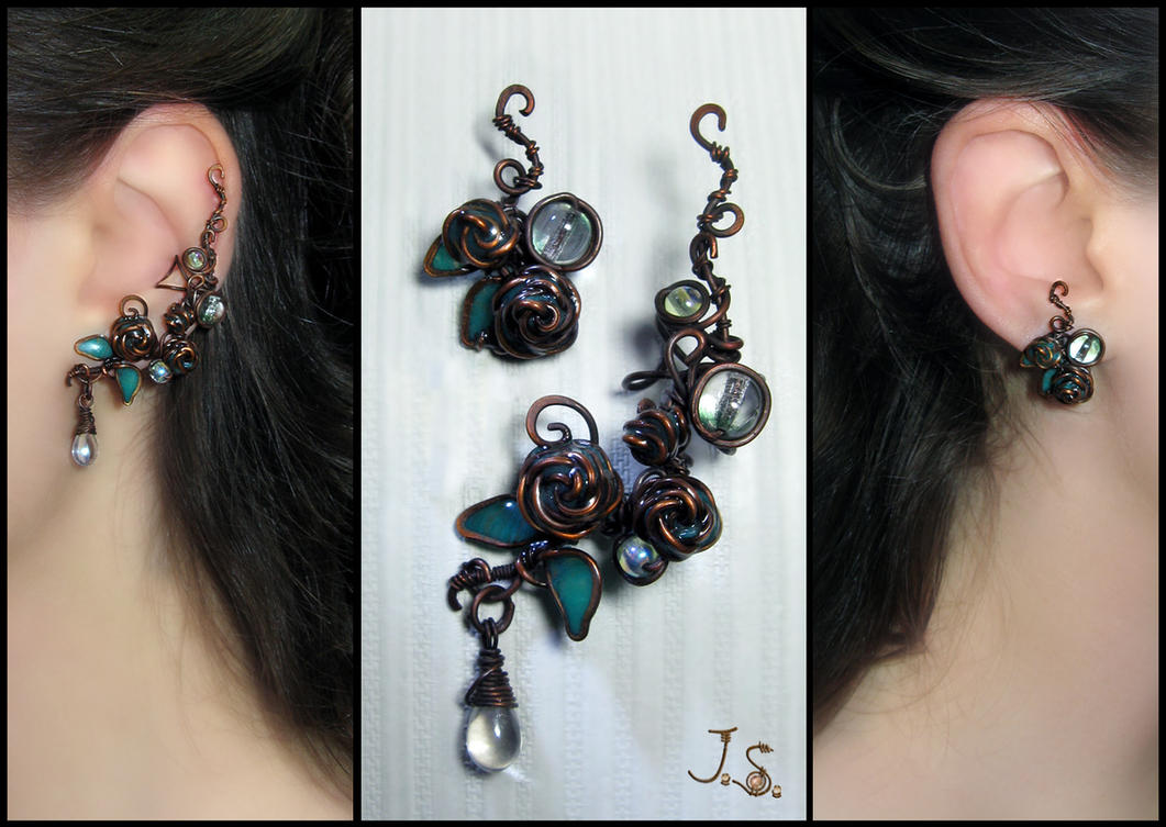 Ear cuff and stud Morning dew by JSjewelry