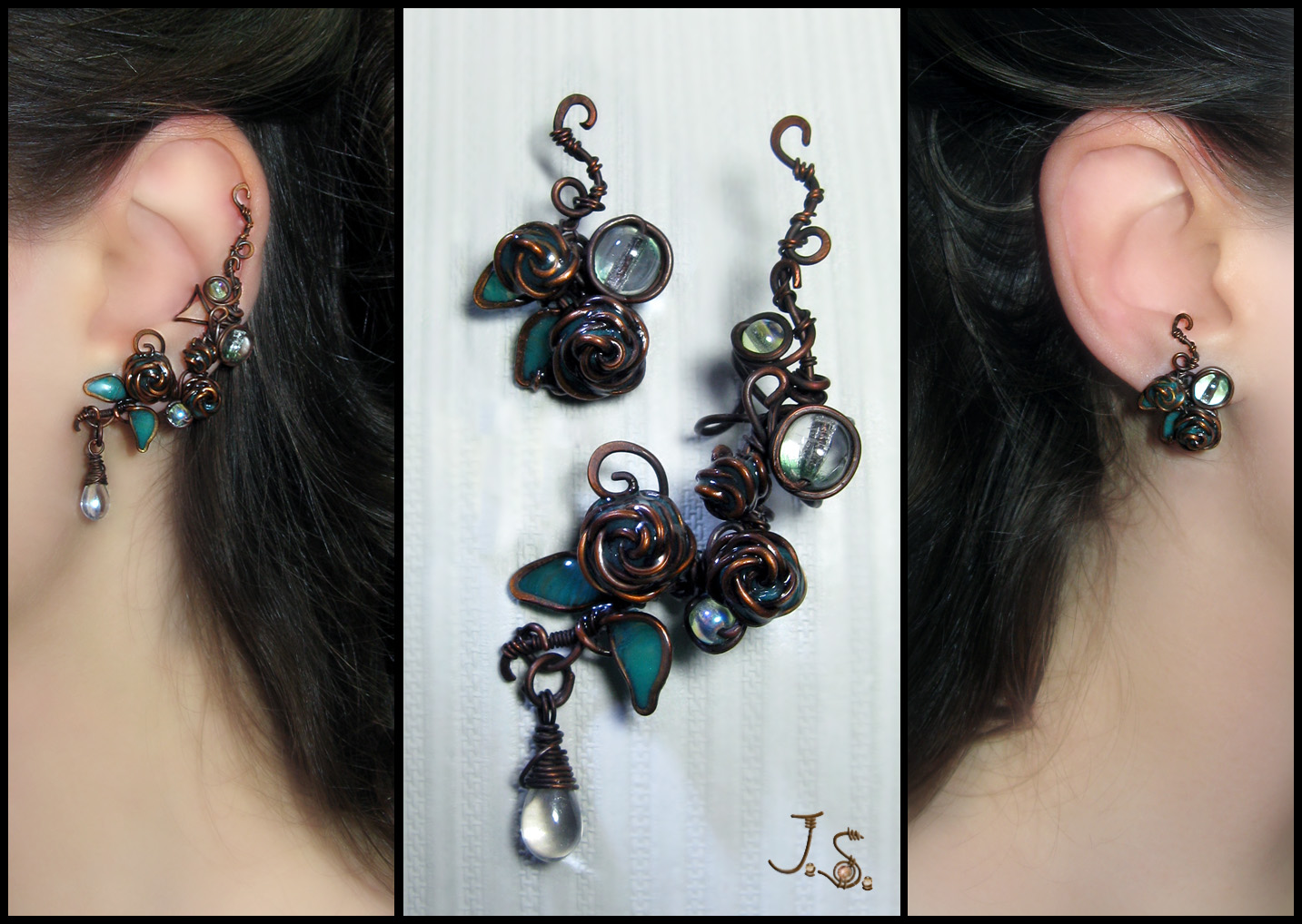 Ear cuff and stud Morning dew by JuliaKotreJewelry