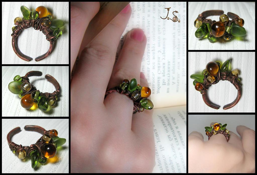 Asymmetrical ring Ripe berries by JSjewelry