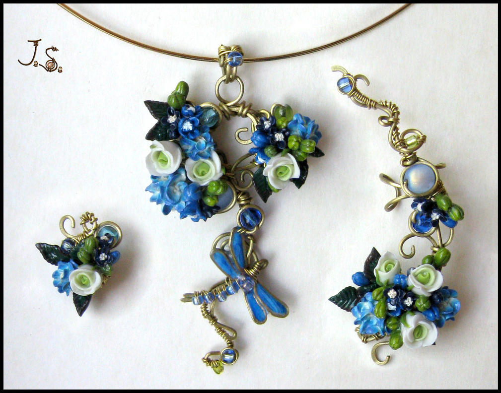 Spring dragonfly set by JSjewelry