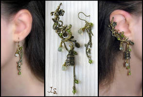 Voices of nightingales ear cuff and earring by JuliaKotreJewelry
