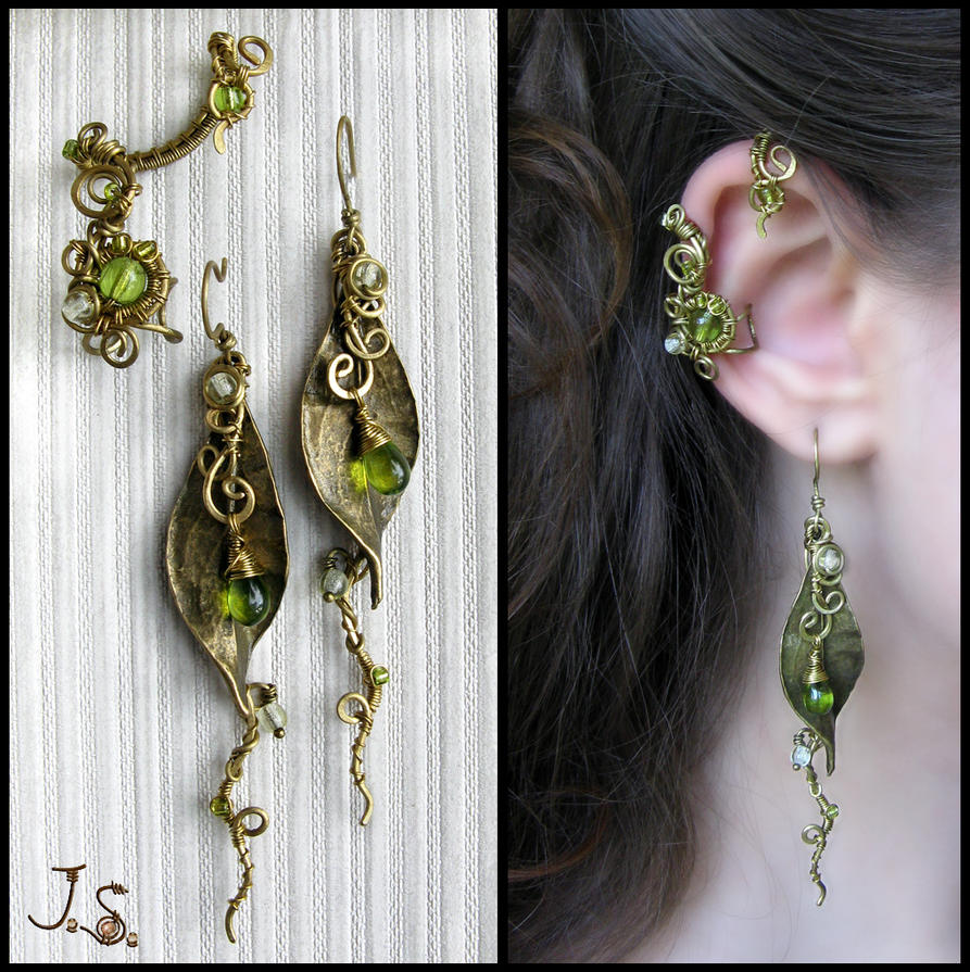 Ear cuff and earrings Seasons. Spring. by JSjewelry