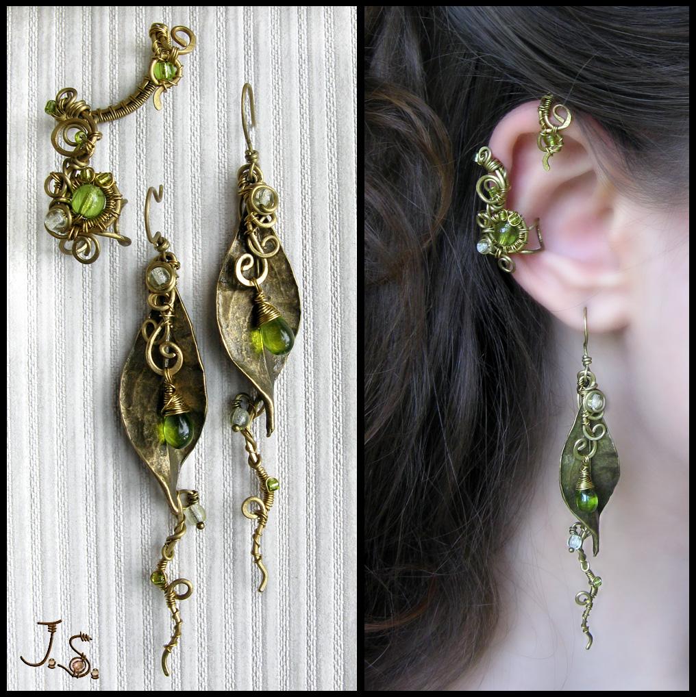 Ear cuff and earrings Seasons. Spring. by JSjewelry