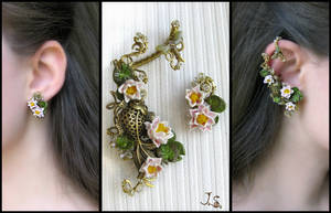 Summer pond earcuff and stud