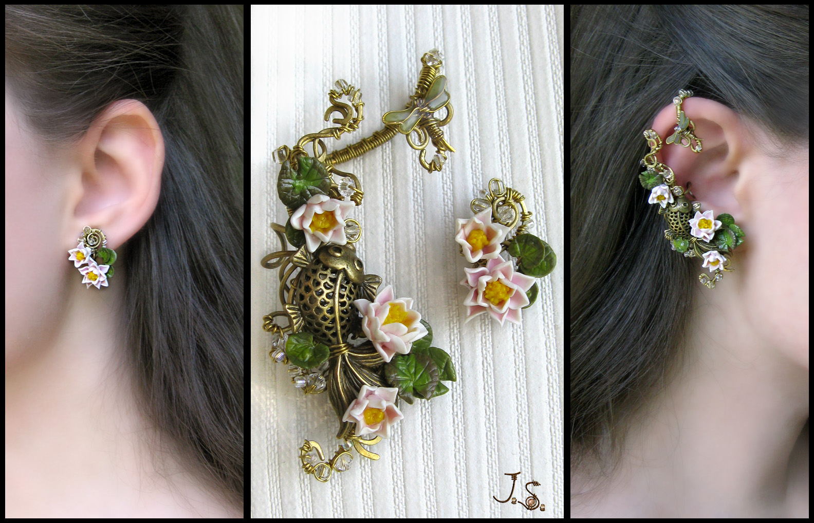 Summer pond earcuff and stud by JSjewelry