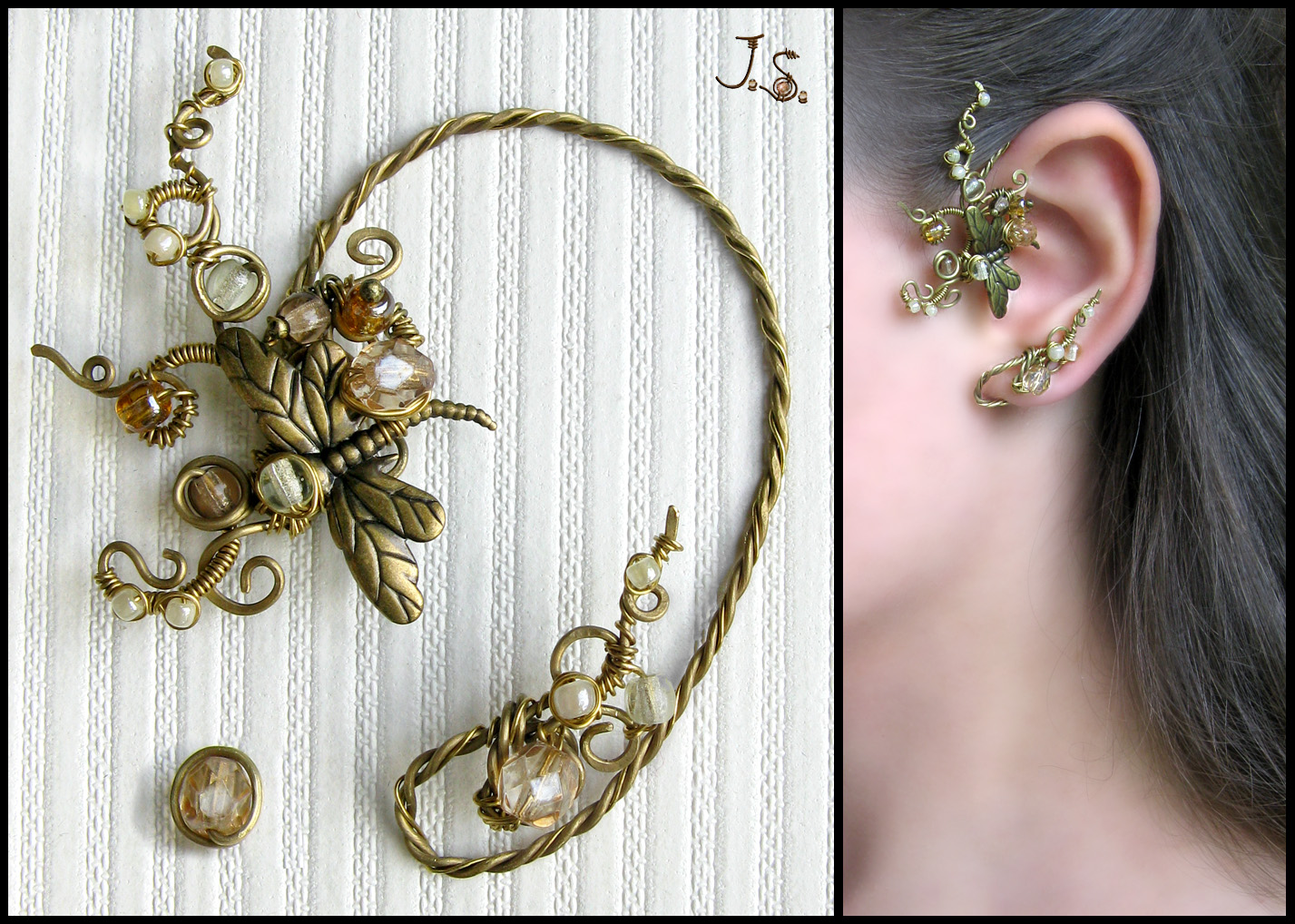 Ear cuff and stud Autumn noon by JSjewelry