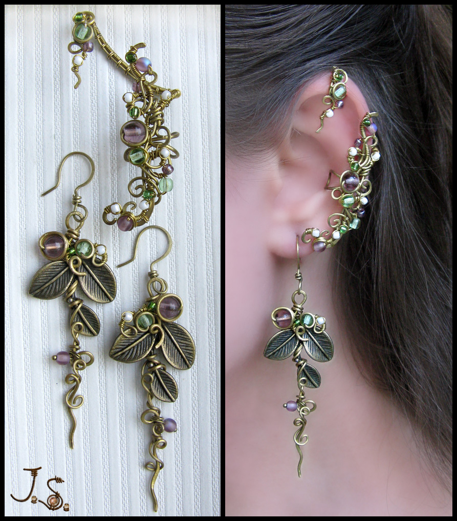 Ear cuff and stud - Seasons. Summer. by JSjewelry