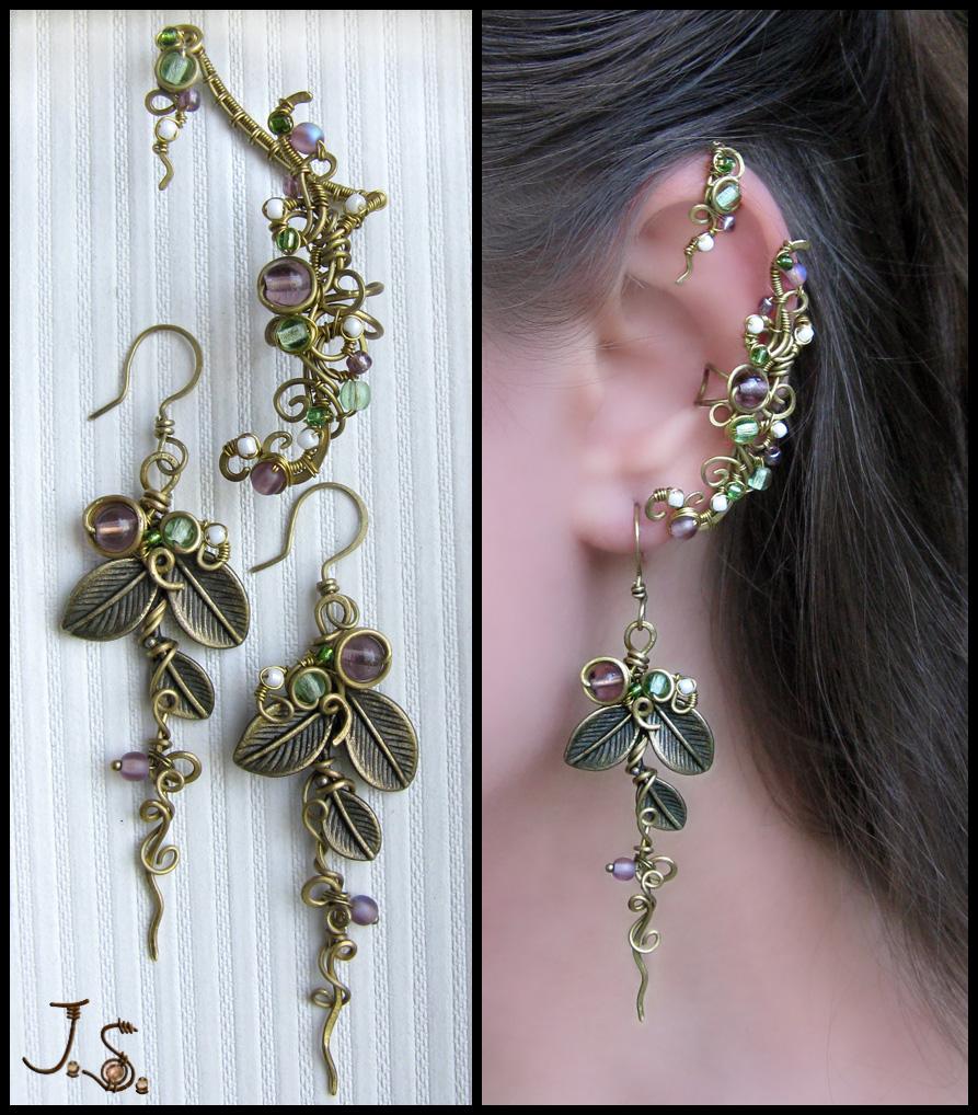 Ear cuff and stud - Seasons. Summer. by JuliaKotreJewelry