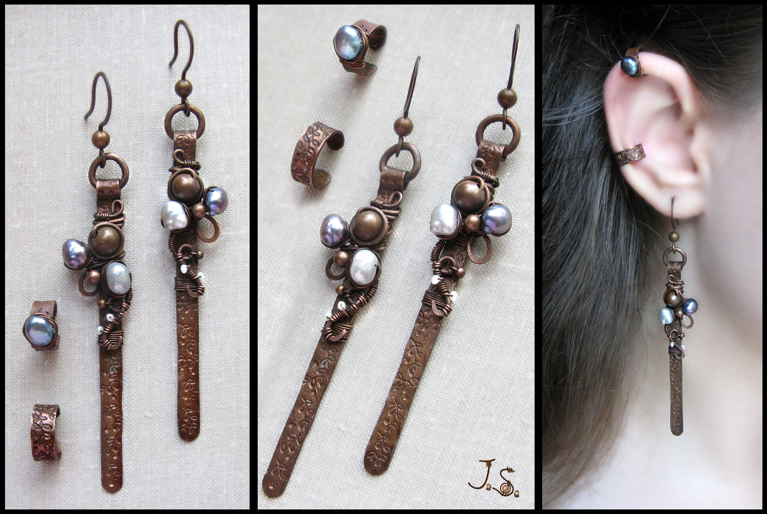 Earrings and small ear cuffs by JSjewelry