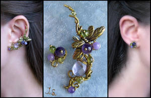 Ear cuff and stud Spring dusk by JuliaKotreJewelry