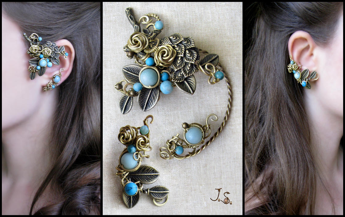 Set of ear cuffs Garden of Emir of Bukhara by JSjewelry