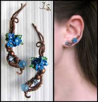 Blue flowers earpins by JuliaKotreJewelry