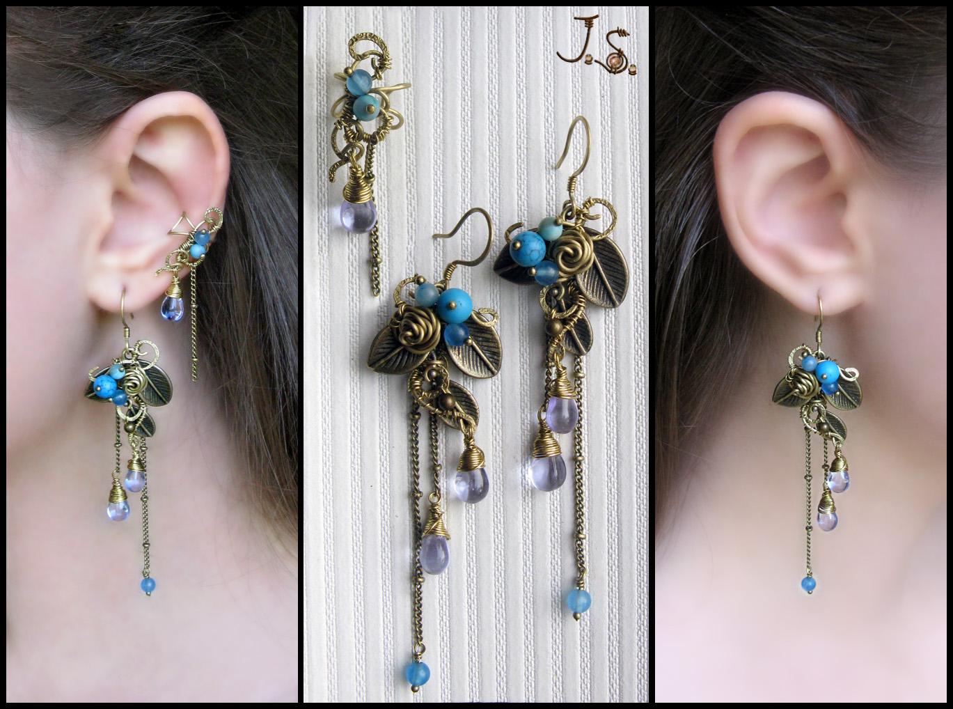 Earrings and small ear cuff by JSjewelry