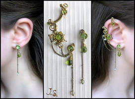 Spring ear cuff and stud set by JuliaKotreJewelry