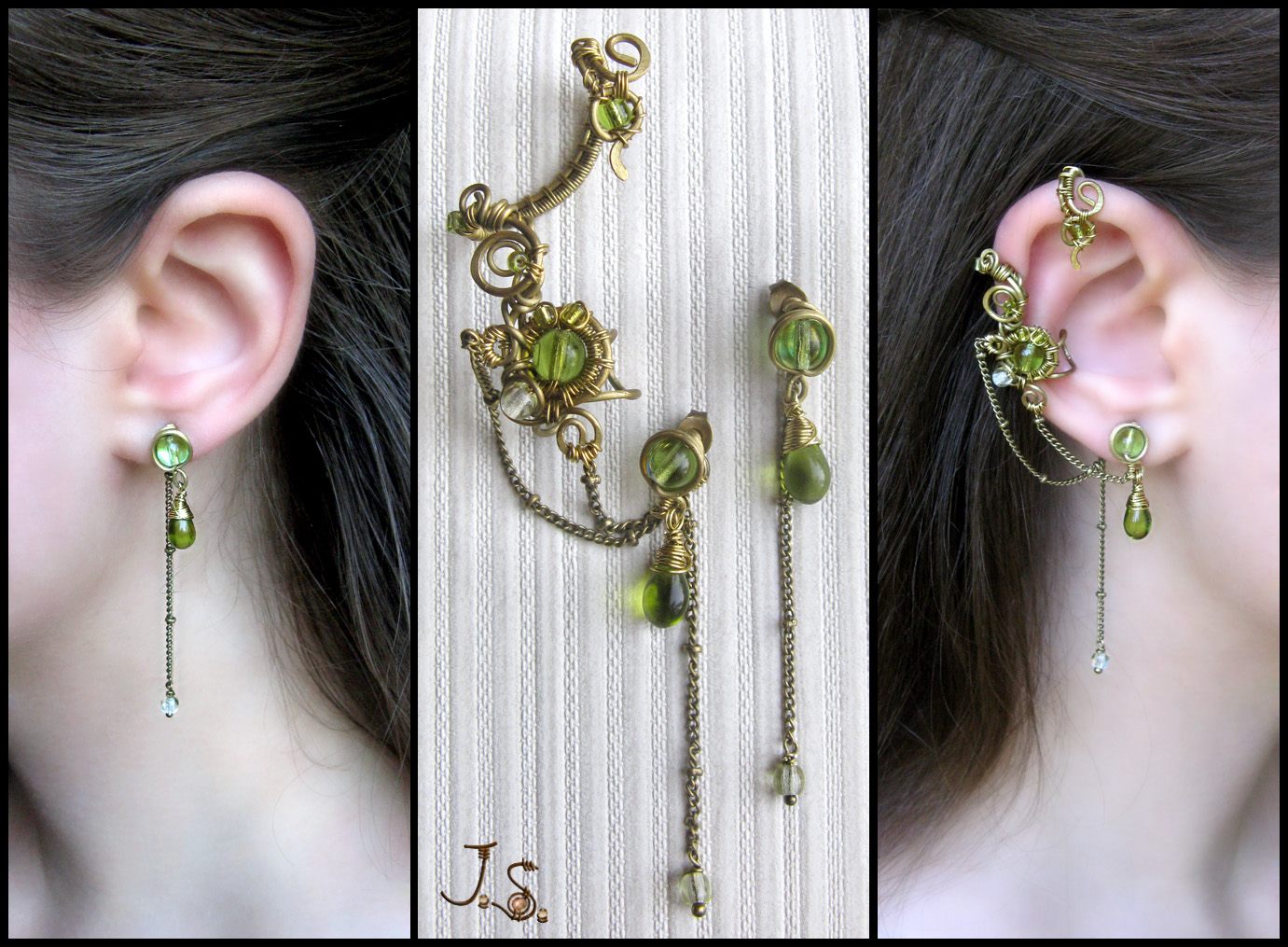 Spring ear cuff and stud set by JSjewelry