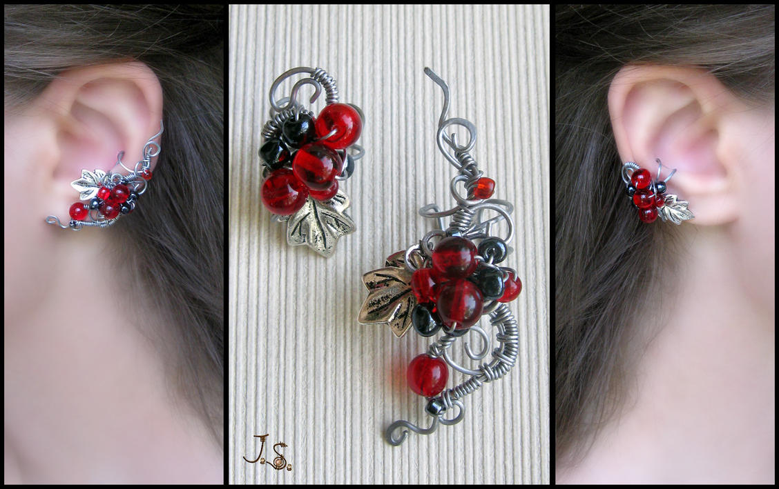 Red and black set of ear cuffs by JSjewelry