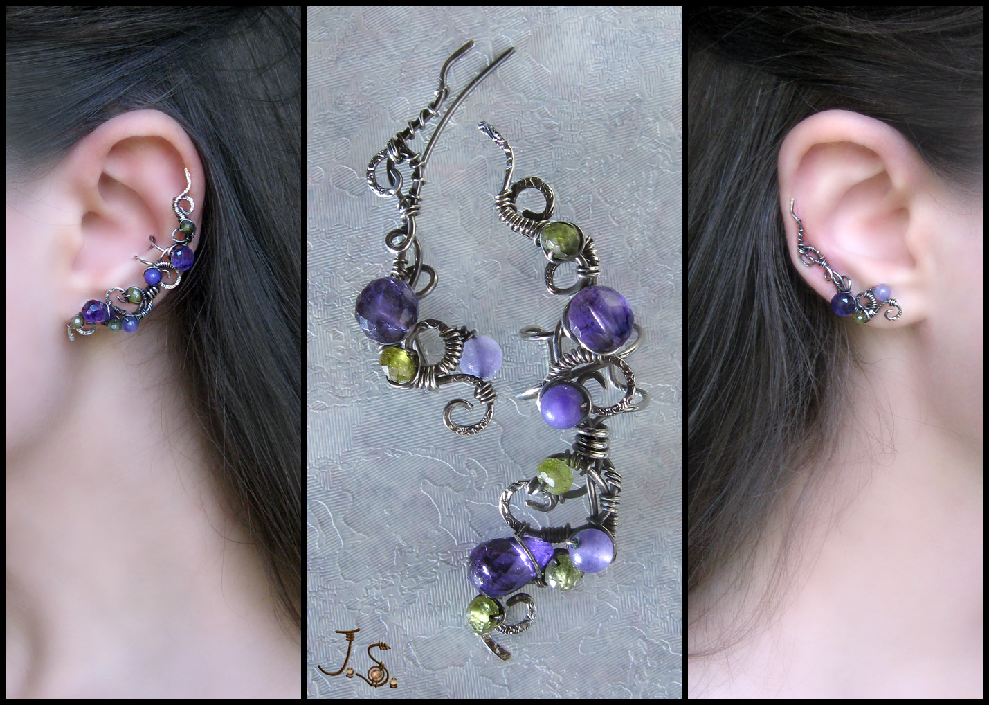Violets near stream silver ear cuff and ear pin by JSjewelry