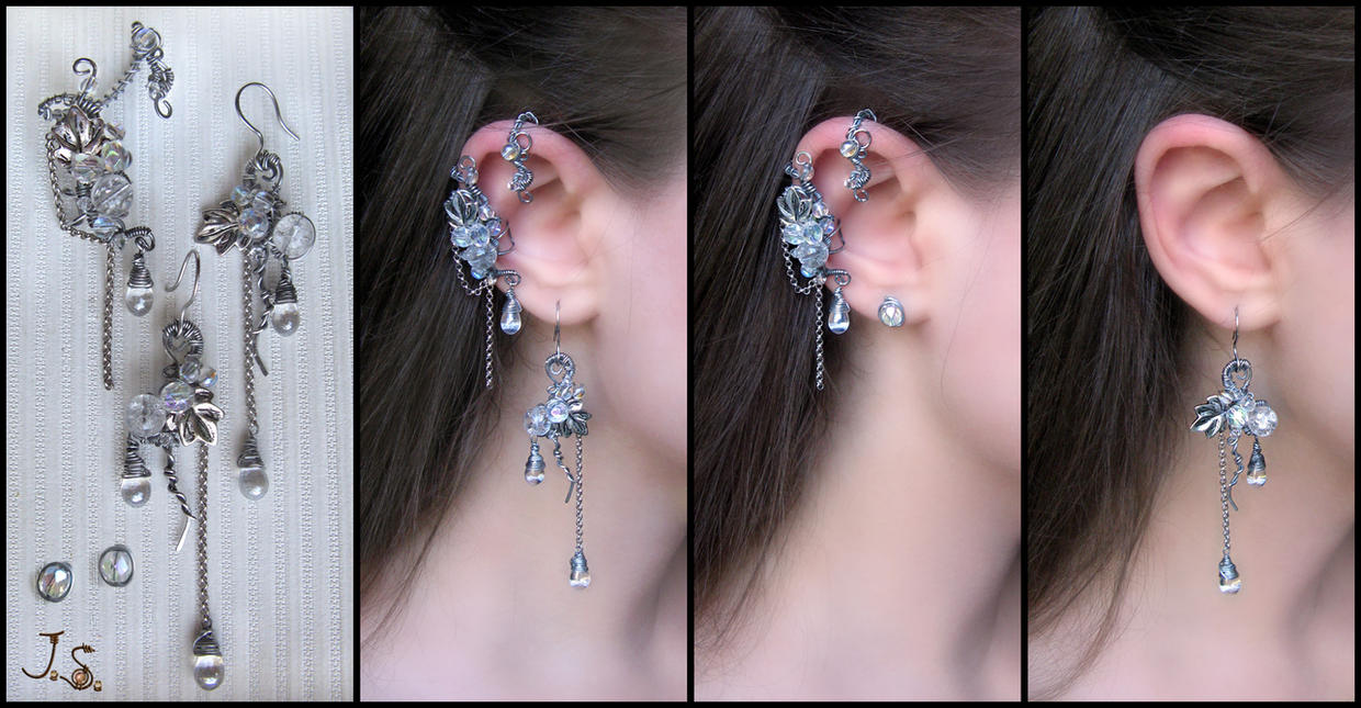 Seasons. Winter. ear cuff, earrings and studs by JSjewelry