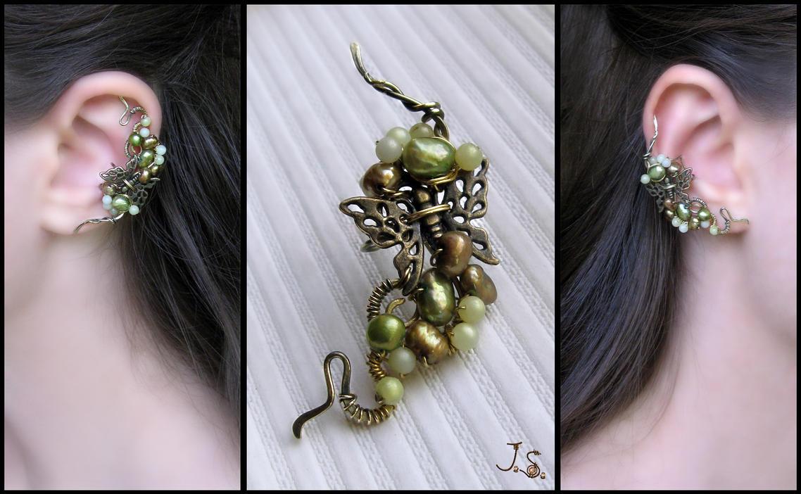 Flight of butterfly ear cuff by JSjewelry