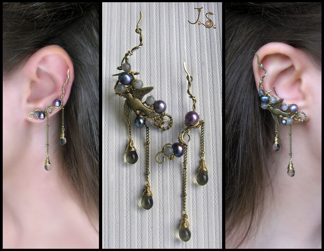 Through the thunderstorm ear cuff and ear pin by JSjewelry