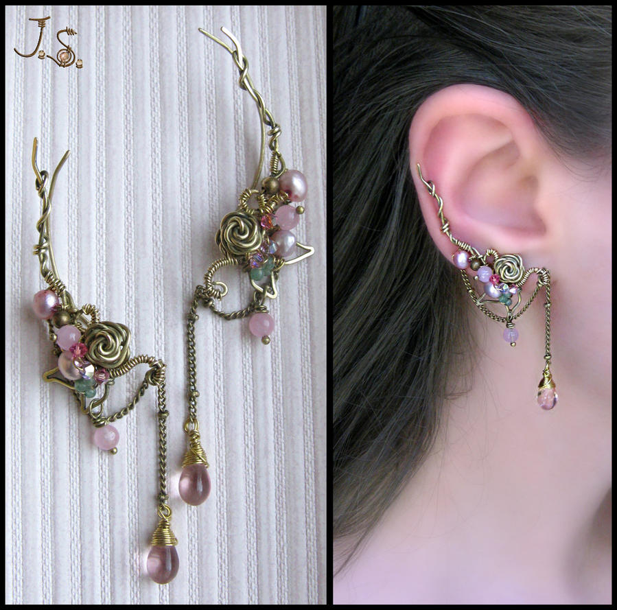 Pink dreams ear pins by JSjewelry