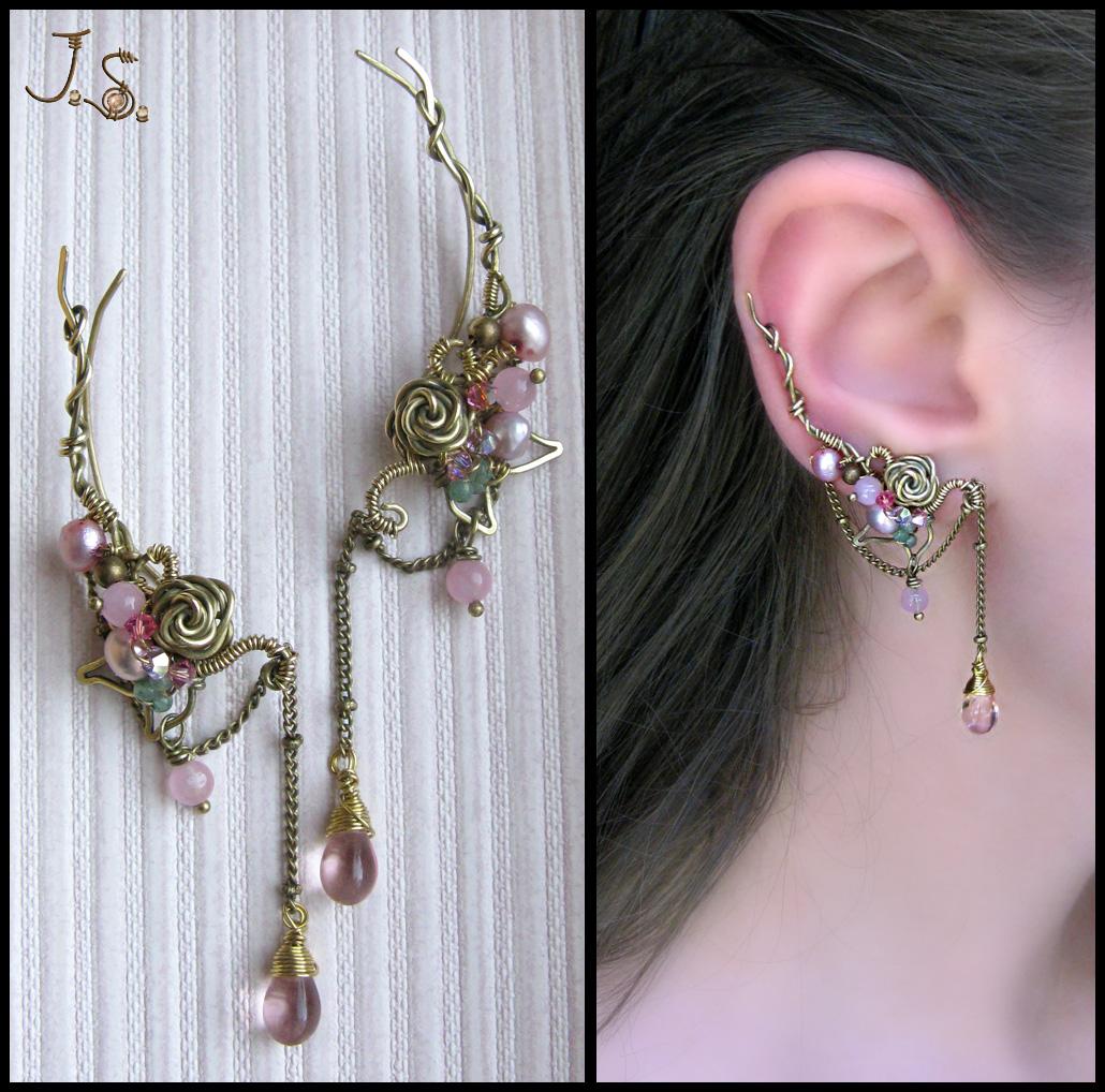 Pink dreams ear pins by JSjewelry