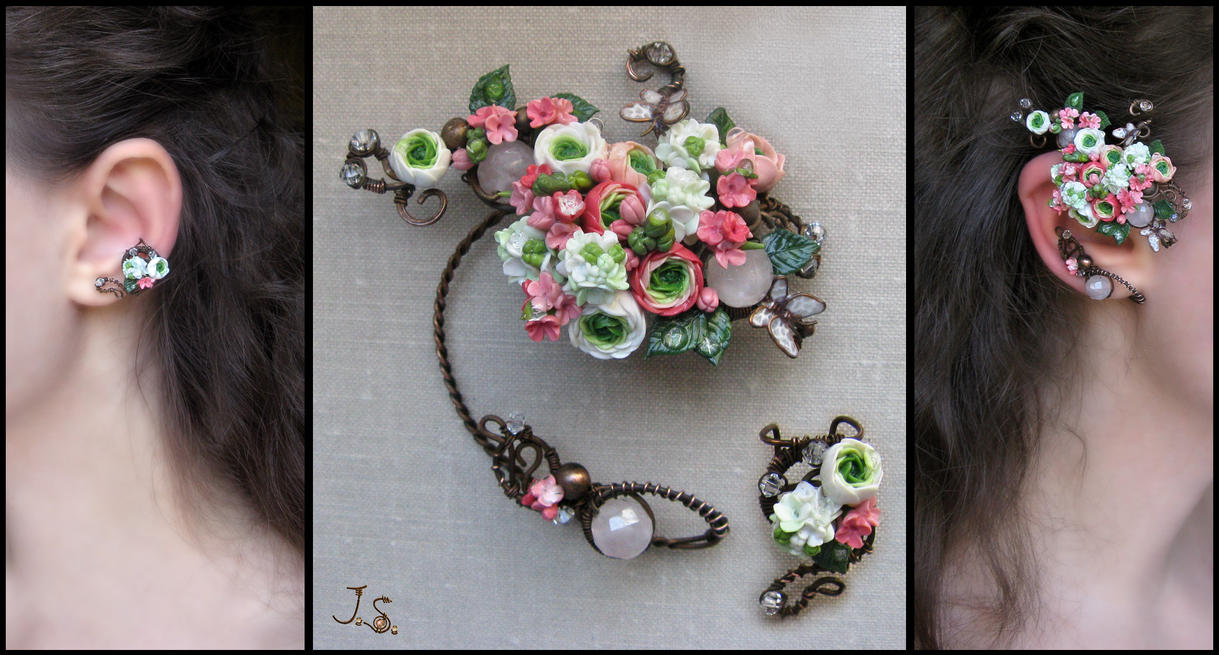 Ear cuffs Summer garden by JSjewelry
