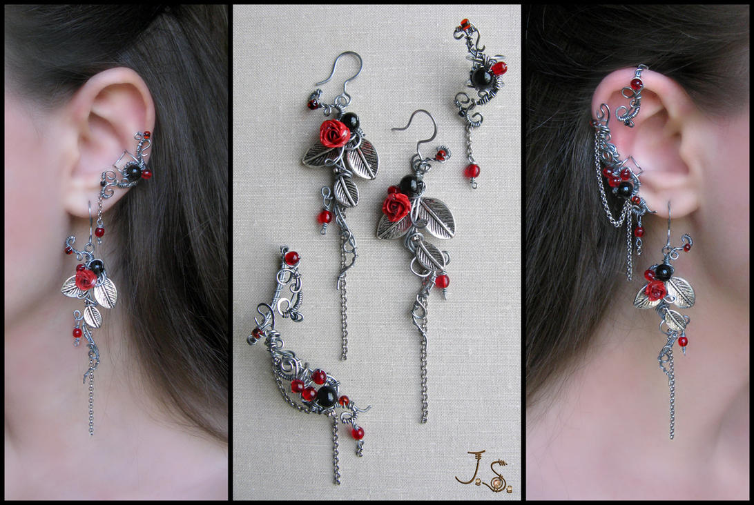 Earrings and ear cuffs Dark passion by JSjewelry