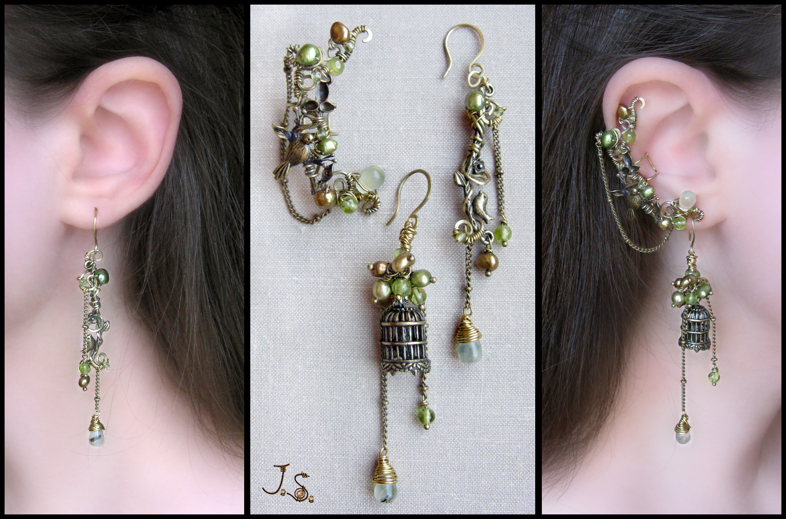 Voices of nightingales-2 ear cuff and earrings by JSjewelry