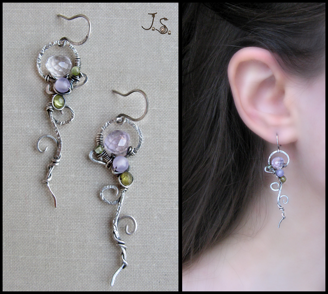 Silver earrings - collection First spring flowers by JSjewelry