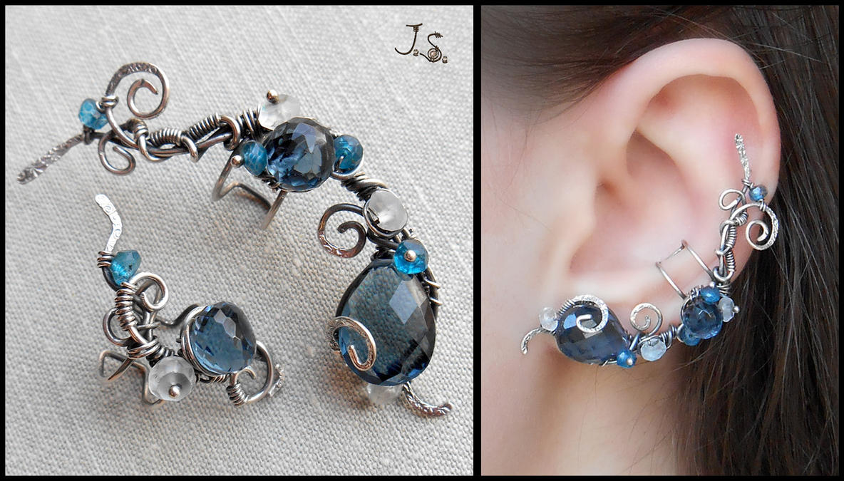 Set of silver ear cuffs Northern river by JSjewelry