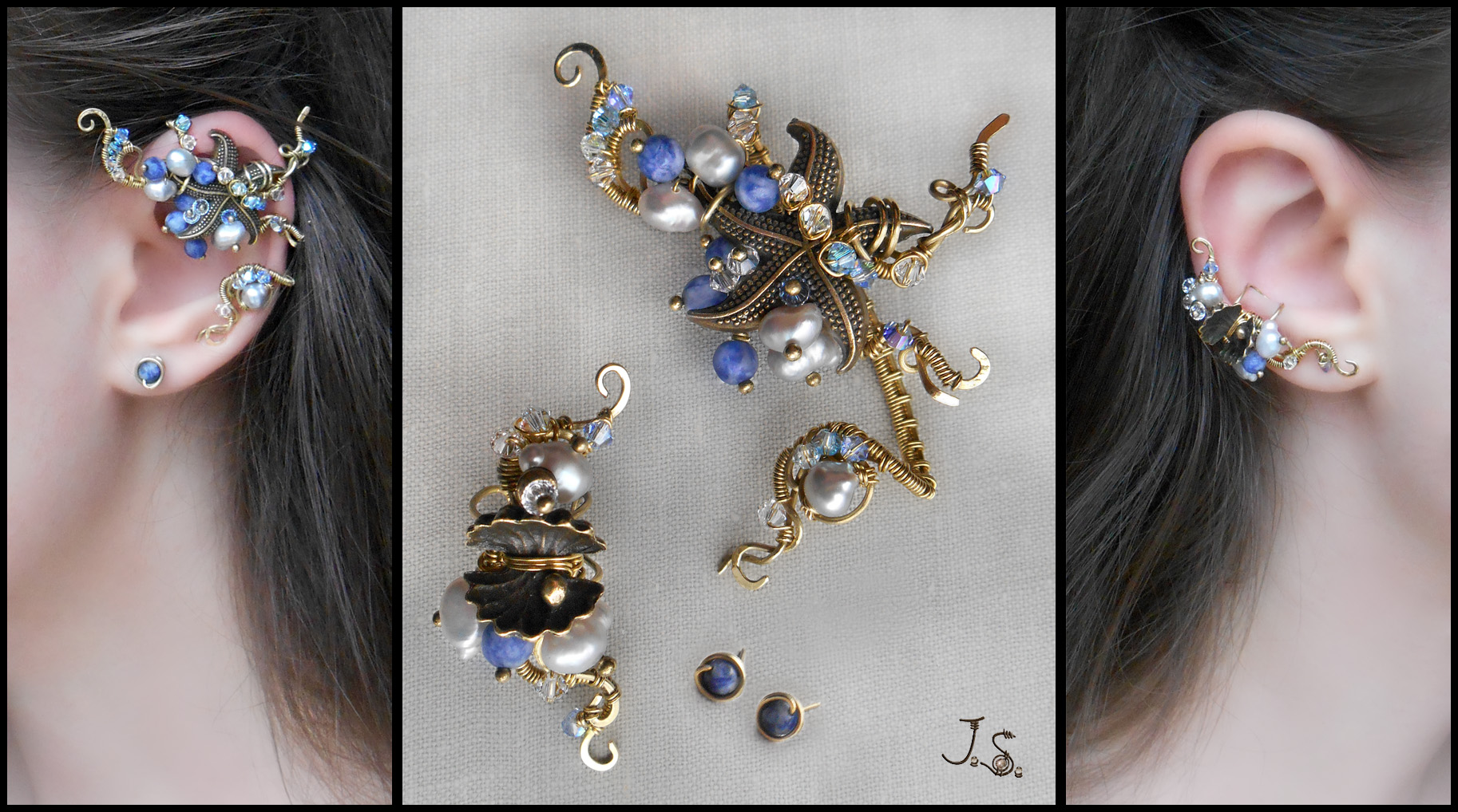 Set of ear cuffs Treasures of sea by JSjewelry