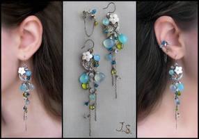 Blue lagoon earrings and ear cuff by JuliaKotreJewelry
