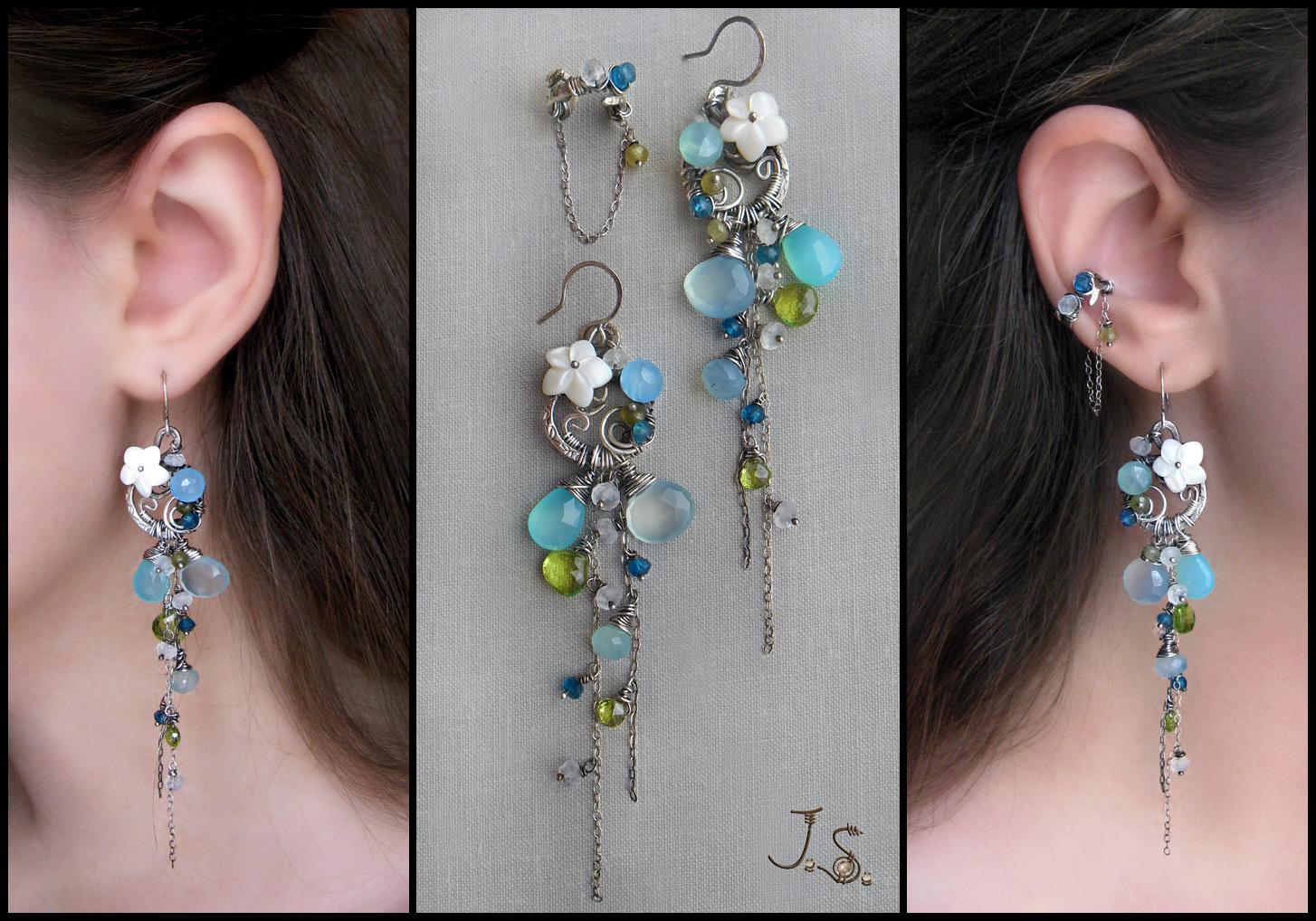 Blue lagoon earrings and ear cuff by JSjewelry
