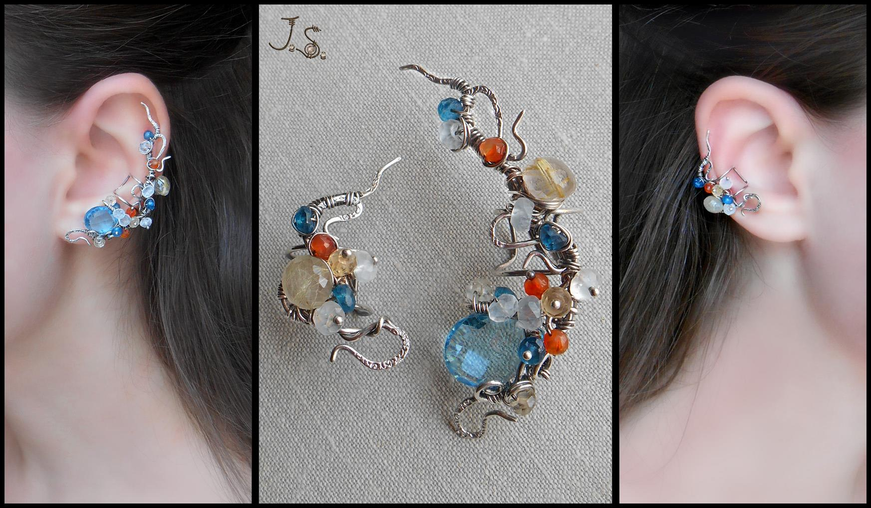 Silver ear cuffs Autumn by the mountain stream by JSjewelry