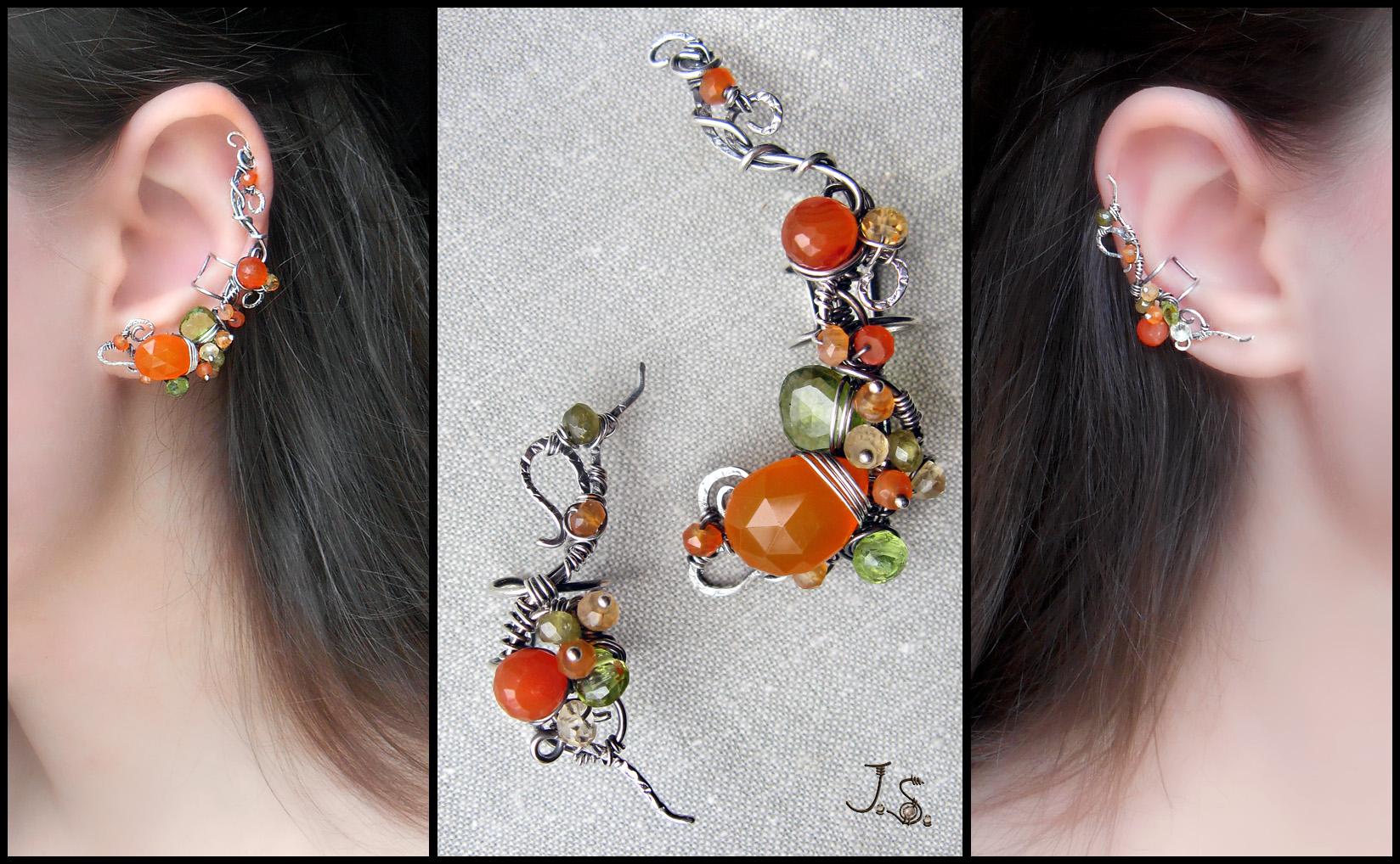 Silver ear cuffs Orange grove by JSjewelry