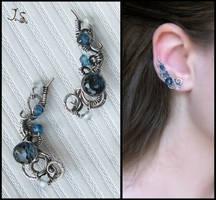 Silver ear pins by JuliaKotreJewelry