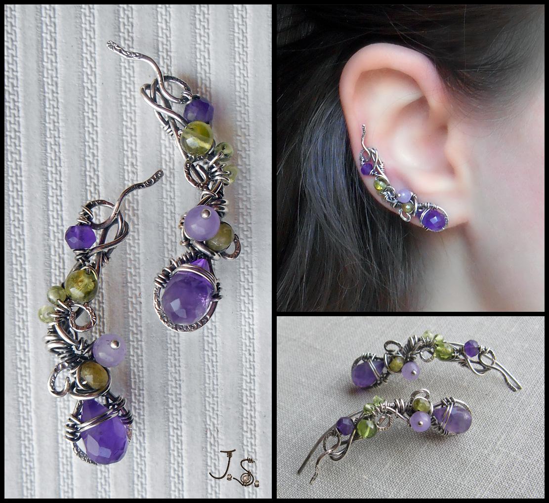 Silver ear pins First flowers by JSjewelry