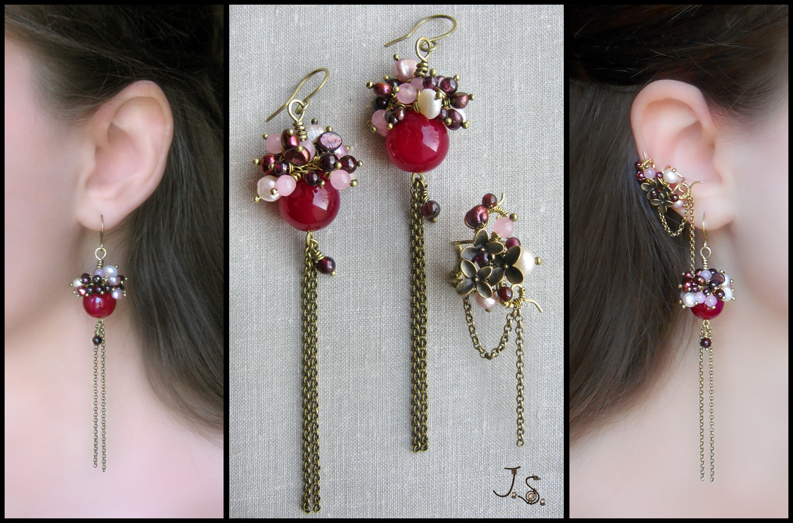 Earrings and ear cuff Cherry blossoms by JSjewelry