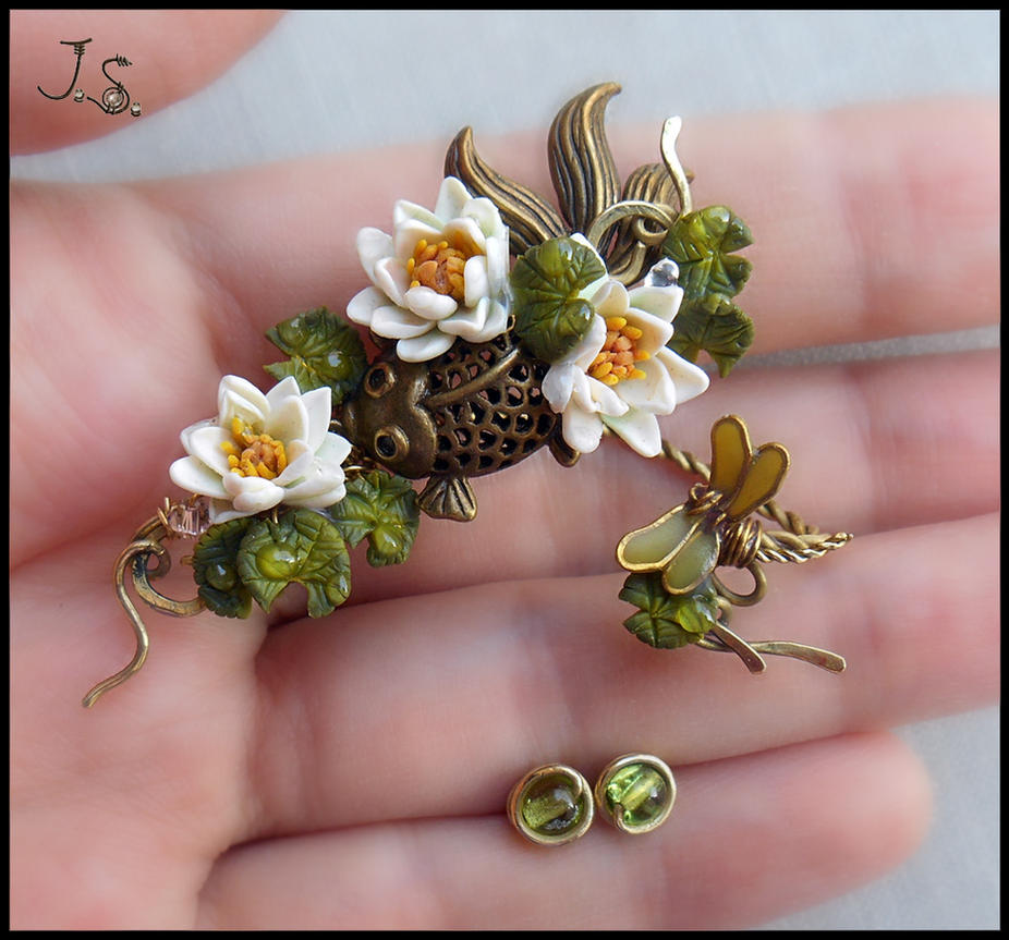 Ear wrap Summer pond II by JSjewelry