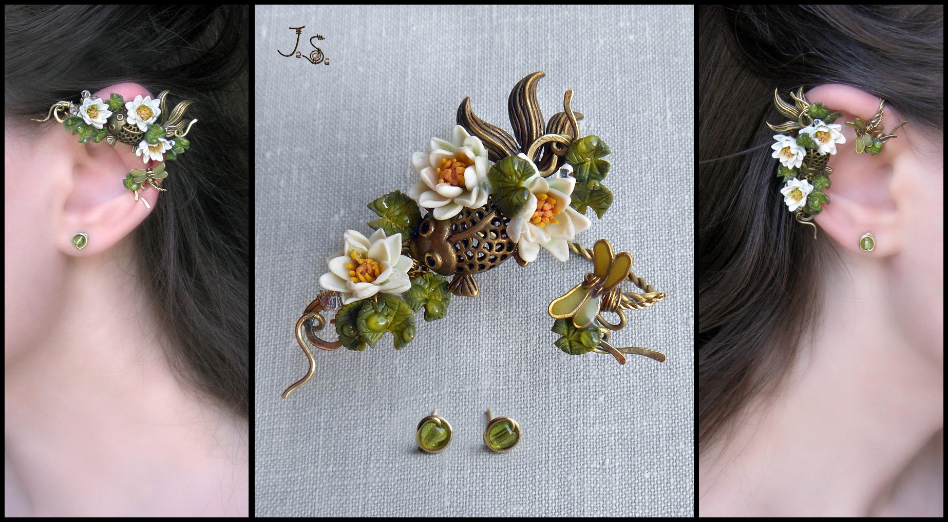 Ear wrap Summer pond II by JuliaKotreJewelry
