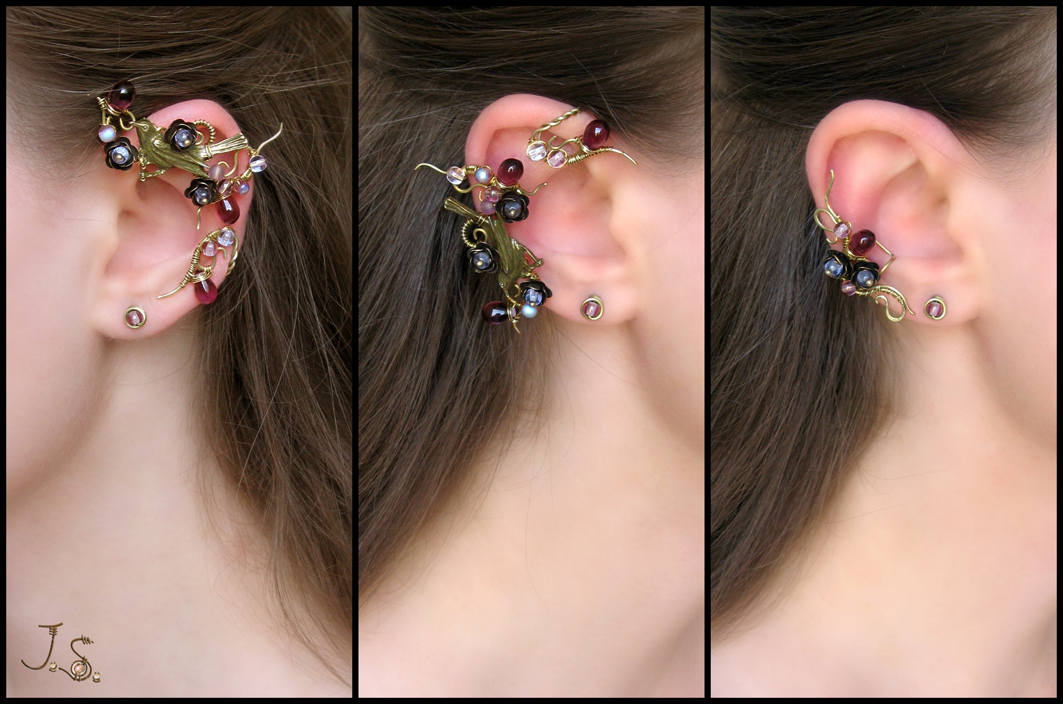 Spring dusk set - ear wrap, ear cuff, studs by JSjewelry