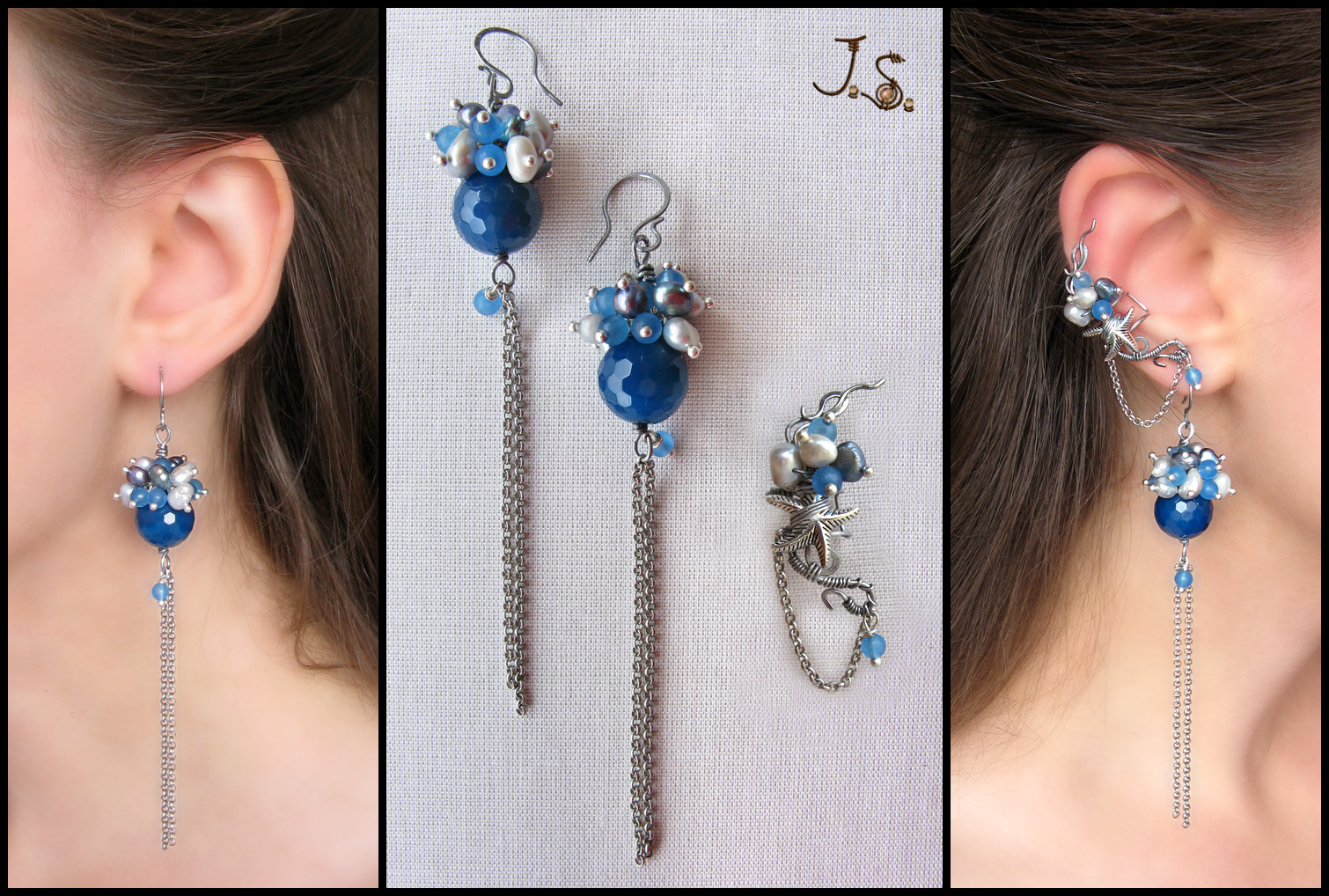 Morning at the sea - ear cuff and earrings set by JSjewelry
