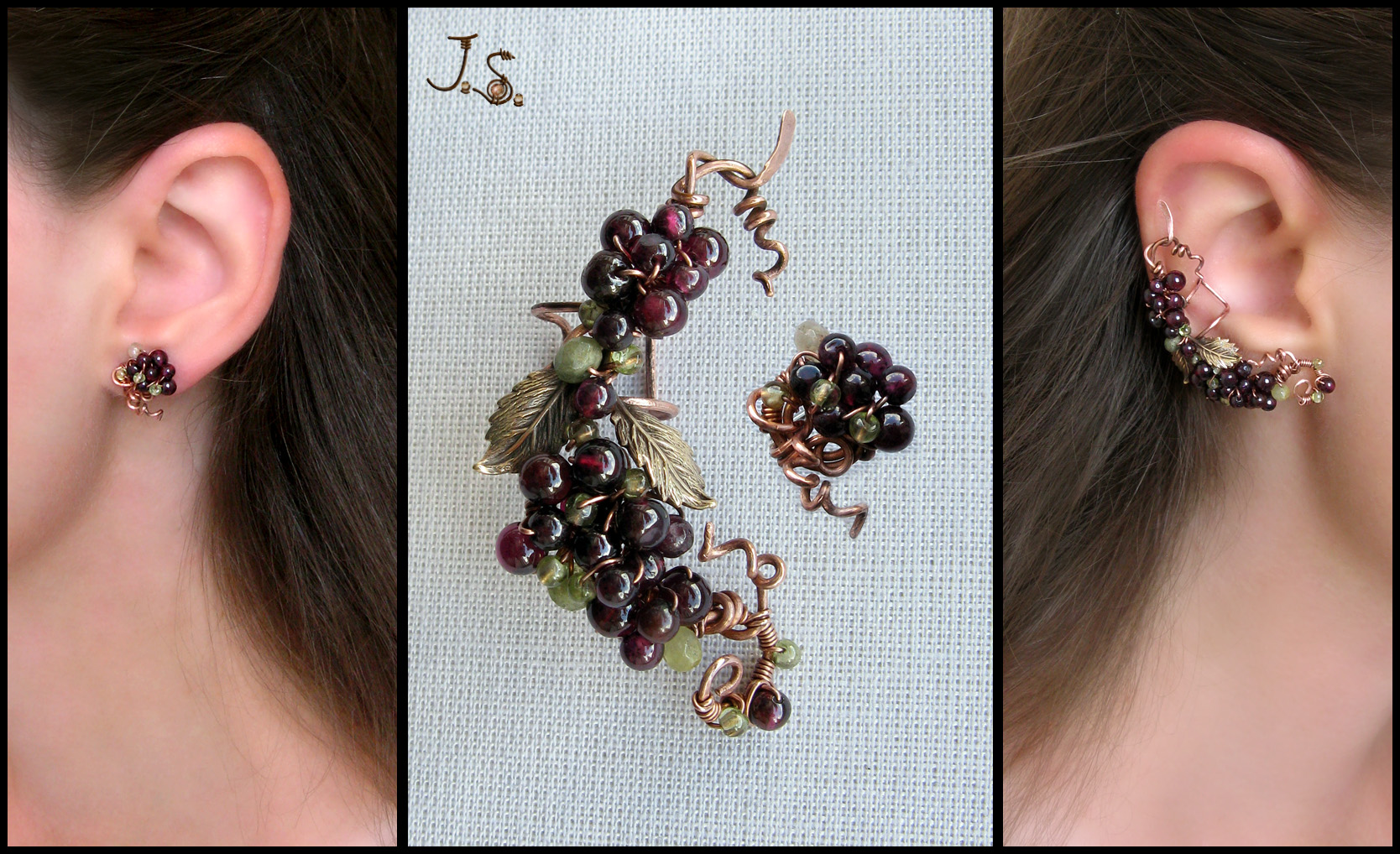 Bunch of berries ear cuff and stud by JSjewelry