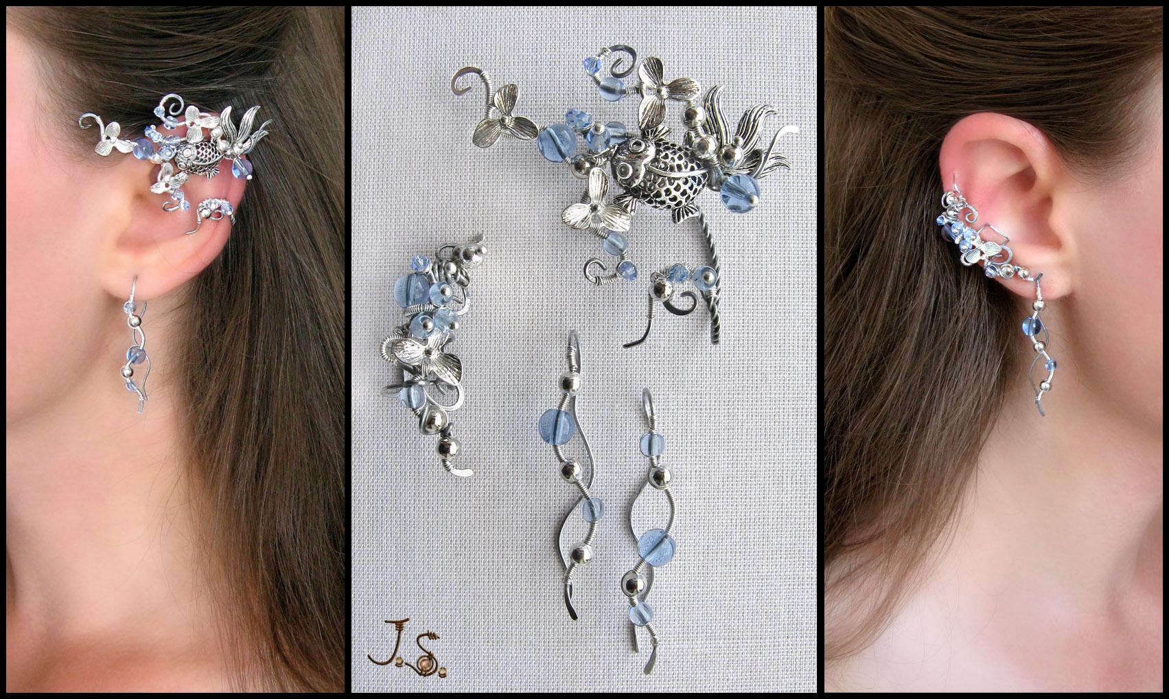 Blooming stream II ear wrap, ear cuff and earrings by JSjewelry