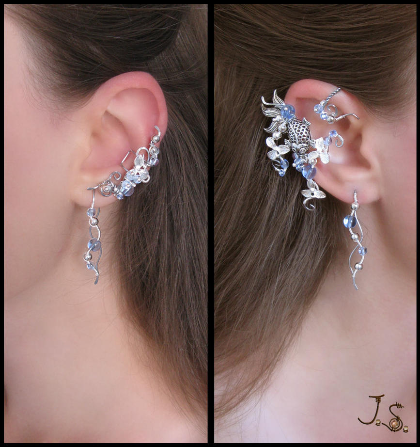 Blooming stream II ear wrap, ear cuff and earrings by JSjewelry